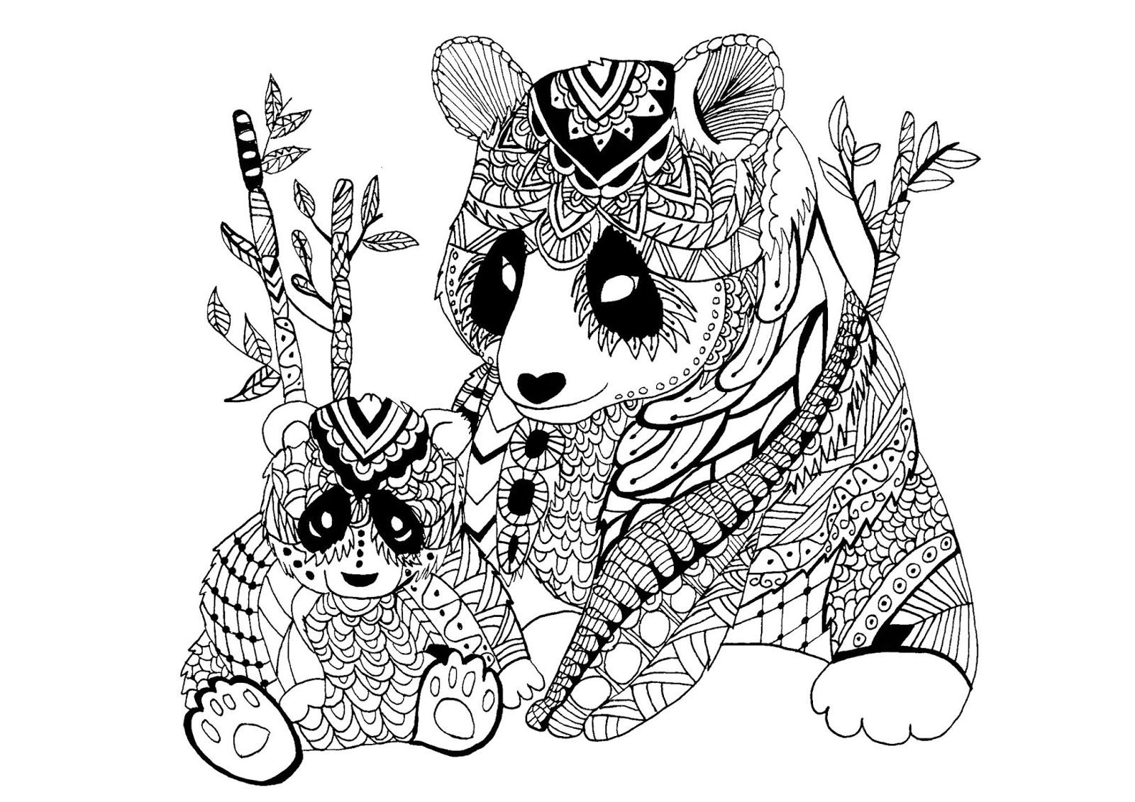 Tranh tô màu hai mẹ con gấu trúc trang trí