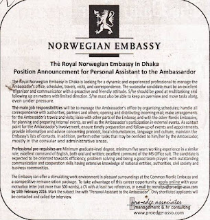 The Royal Norwegian Embassy in Dhaka, Post: Announcement for Assistant to the Ambassador.
