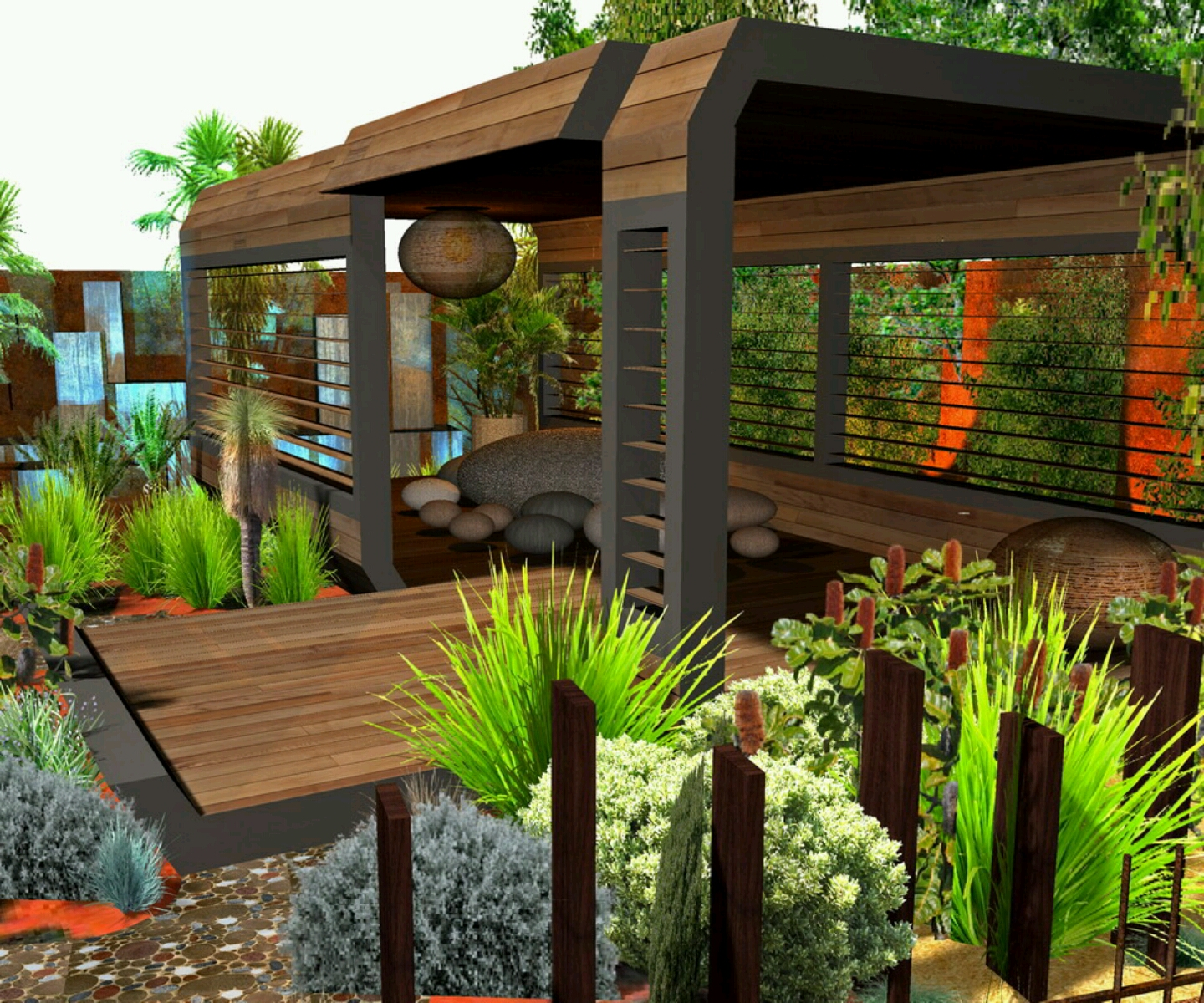 New Home Designs Latest.: Modern Homes Garden Designs Ideas