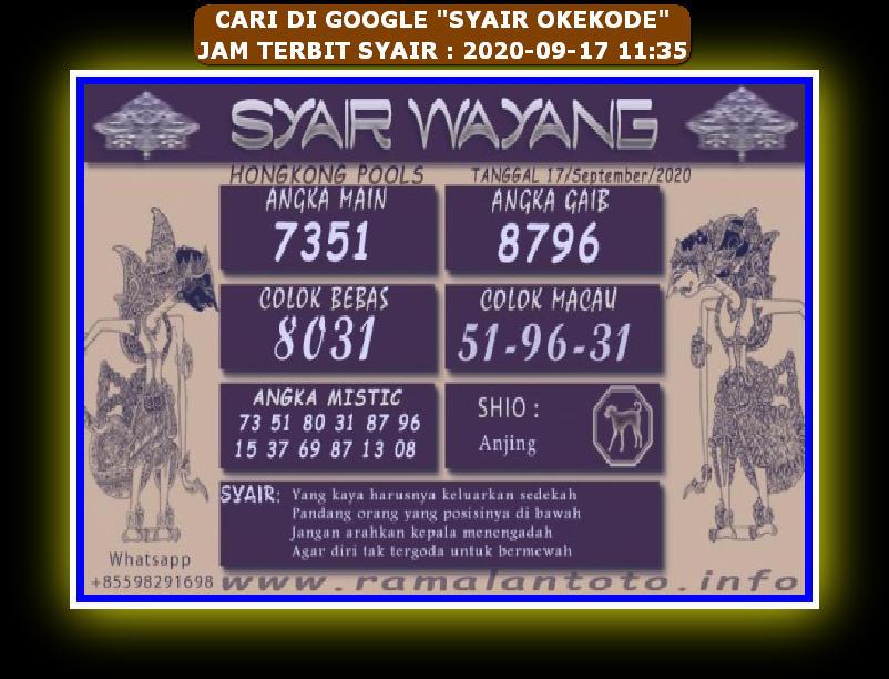 Kode syair Hongkong Kamis 17 September 2020 267