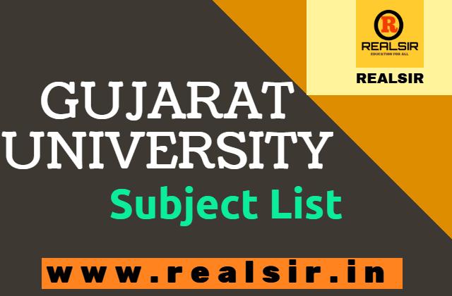 Gujarat University Subject List