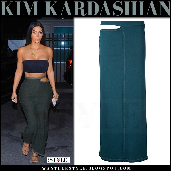 Kim Kardashian in bandeau top and green maxi skirt eckhaus latta what she wore july 31 2017