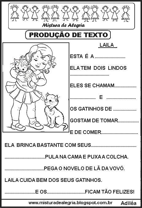 Producoes De Textos Lacunados Para Alfabetizacao Mistura De Alegria
