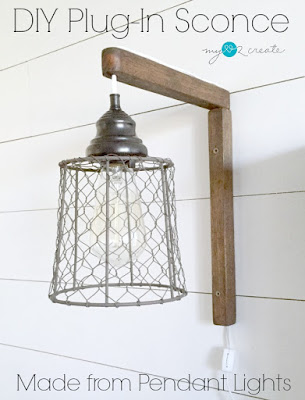 DIY Plug-in Sconces, shared by My Love 2 Create at the Clever Chicks Blog Hop