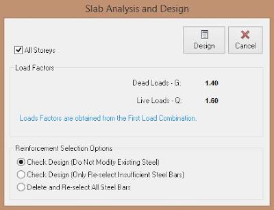Slab Analysis and Design Dialog Box