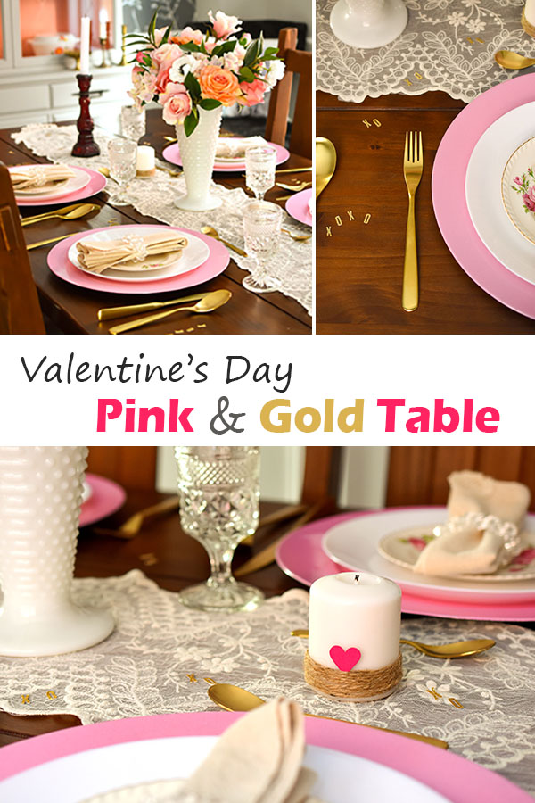 Valentine's Day Pink and Gold Table Decor with gold flatware and vintage touches #decor #valentinesday #table