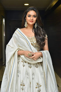 Keerthy Suresh in White Dress with Cute Smile at Pandem Kodi 2 Pre Release Event in Hyderabad 3