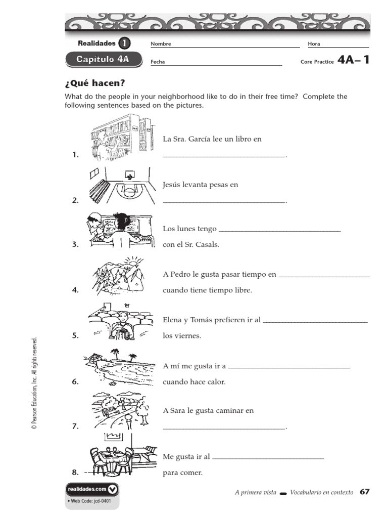Workbooks practice workbook spanish 2 realidades answers : realidades 2 capitulo 4b answers