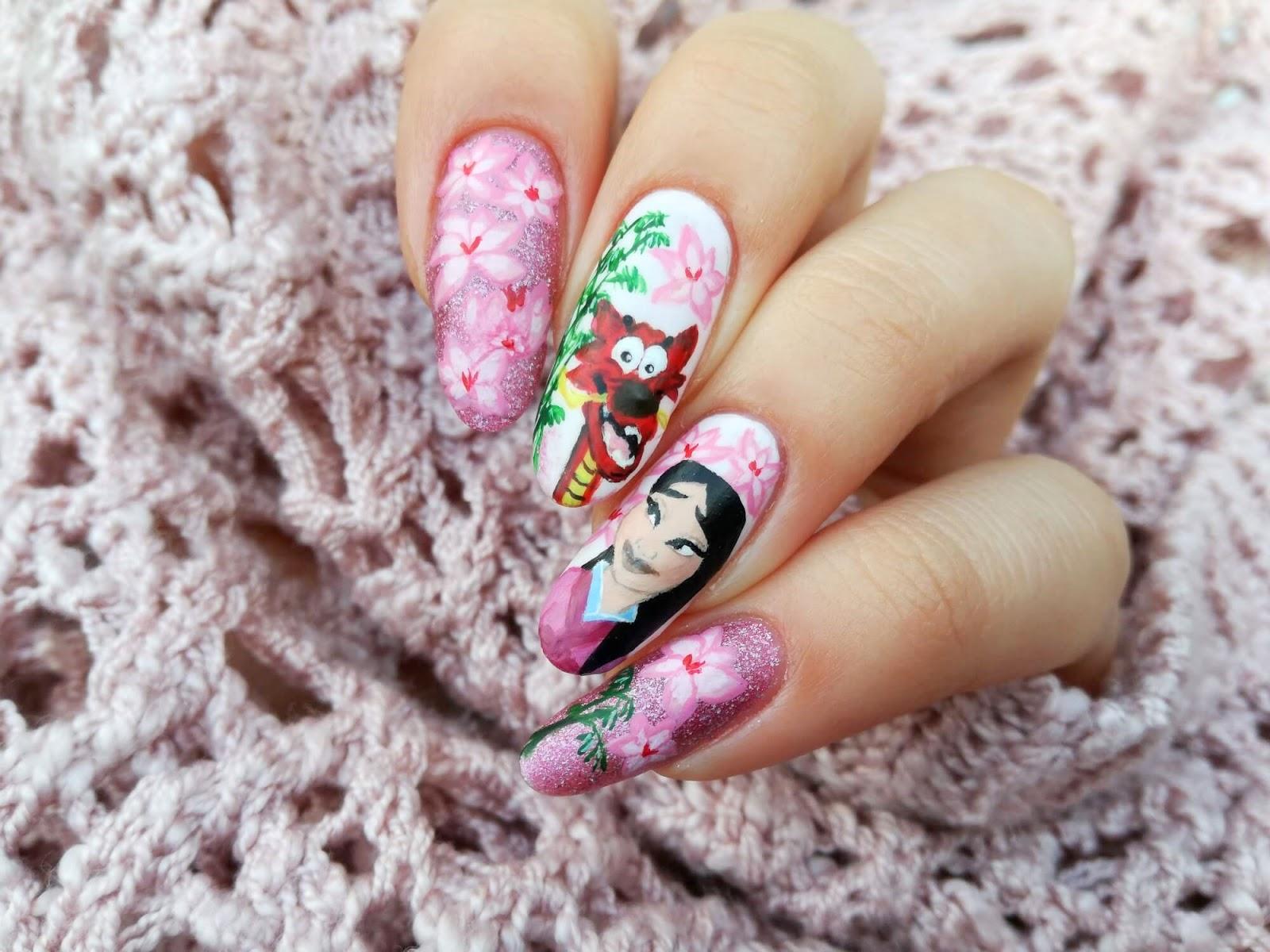 bajkowe paznokcie z mulan