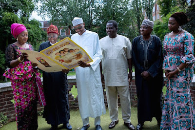 President Buhari on Saturday received a delegation of his aides and the Minister of Information and Culture, Lai Mohammed, at Abuja House in London.