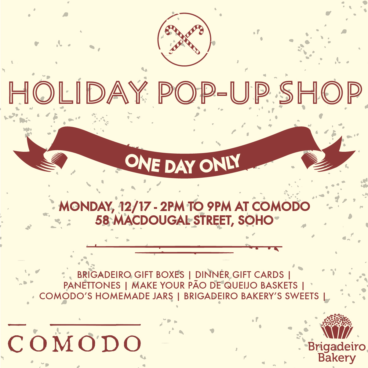 Brigadeiro Bakery and Comodo Holiday Pop-up Shop