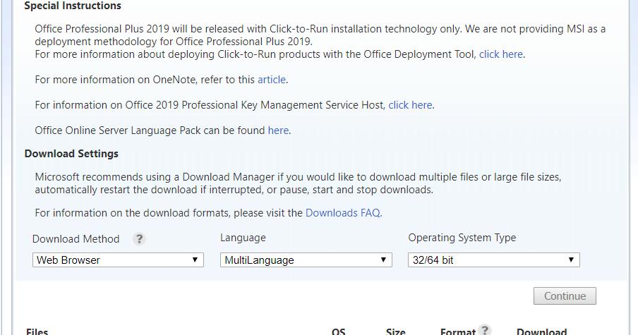 office professional plus 2019 vlsc download