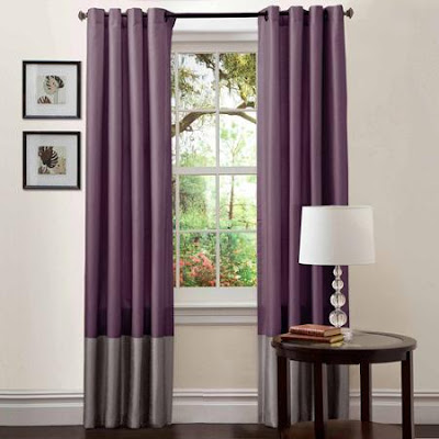 purple and grey curtains