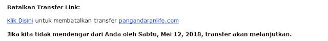 pemeberitahuan ke email bahwa domain akan ditransfer ke layanan lain