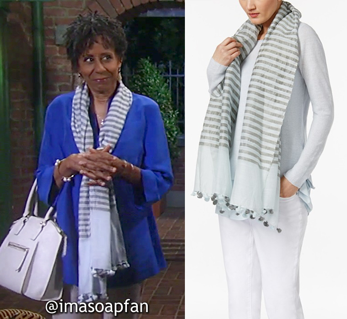 Stella Henry, Vernee Watson, Light Blue and Grey Striped Scarf, Eileen Fisher, General Hospital, GH