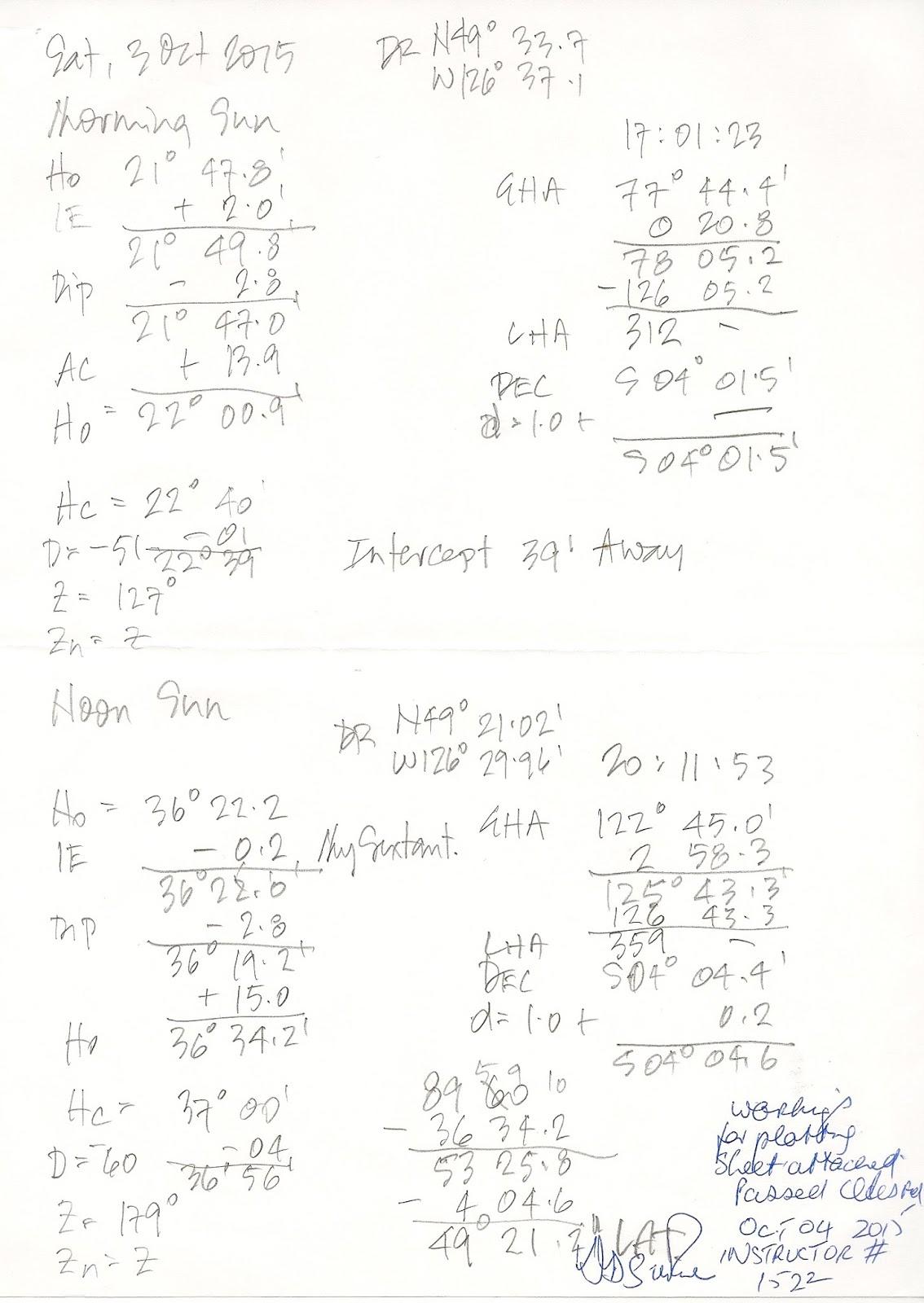 Celestial Navigation Worksheet