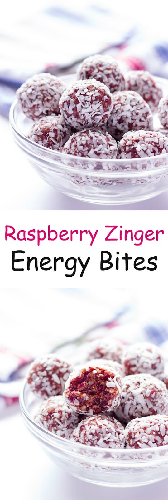 Raspberry Zinger Energy Balls - Raspberry and coconut flavors of the popular snack cakes, but healthy! Nothing but fruit and nuts in these energy bites.