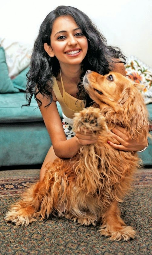 Rakul Preet Singh Photos Playing With Dog