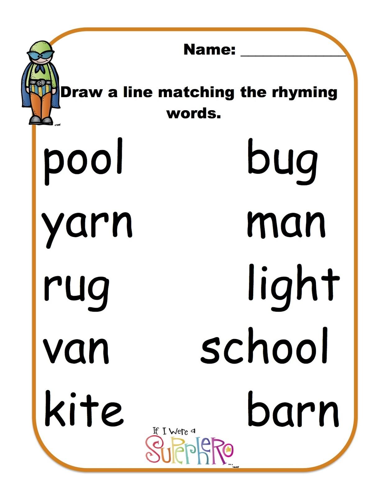 Worksheets Printable Rhyming Worksheets rhyming words with super heros preschool printables heros