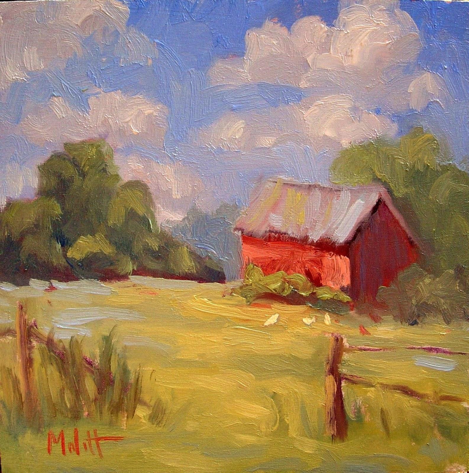 Painting Daily Heidi Malott Original Art Red Barn Chicken