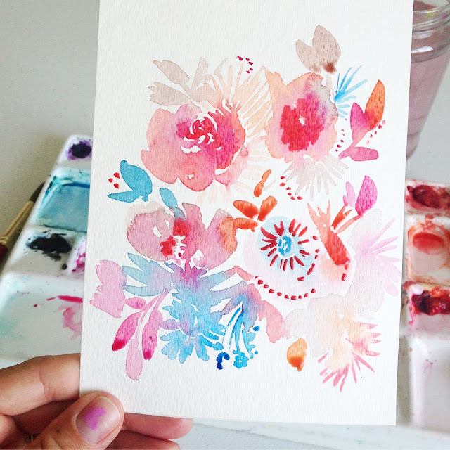 original watercolor pink, orange, and blue abstract flowers