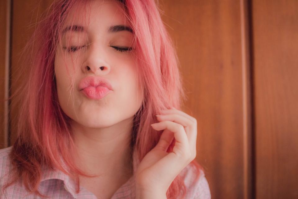 Cabelo rosa algodão doce