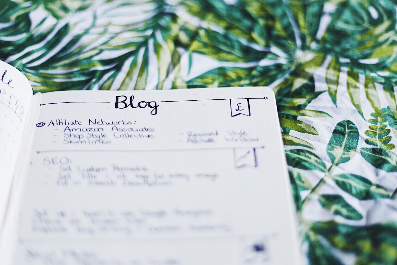 Bullet Journal Blogging Notes