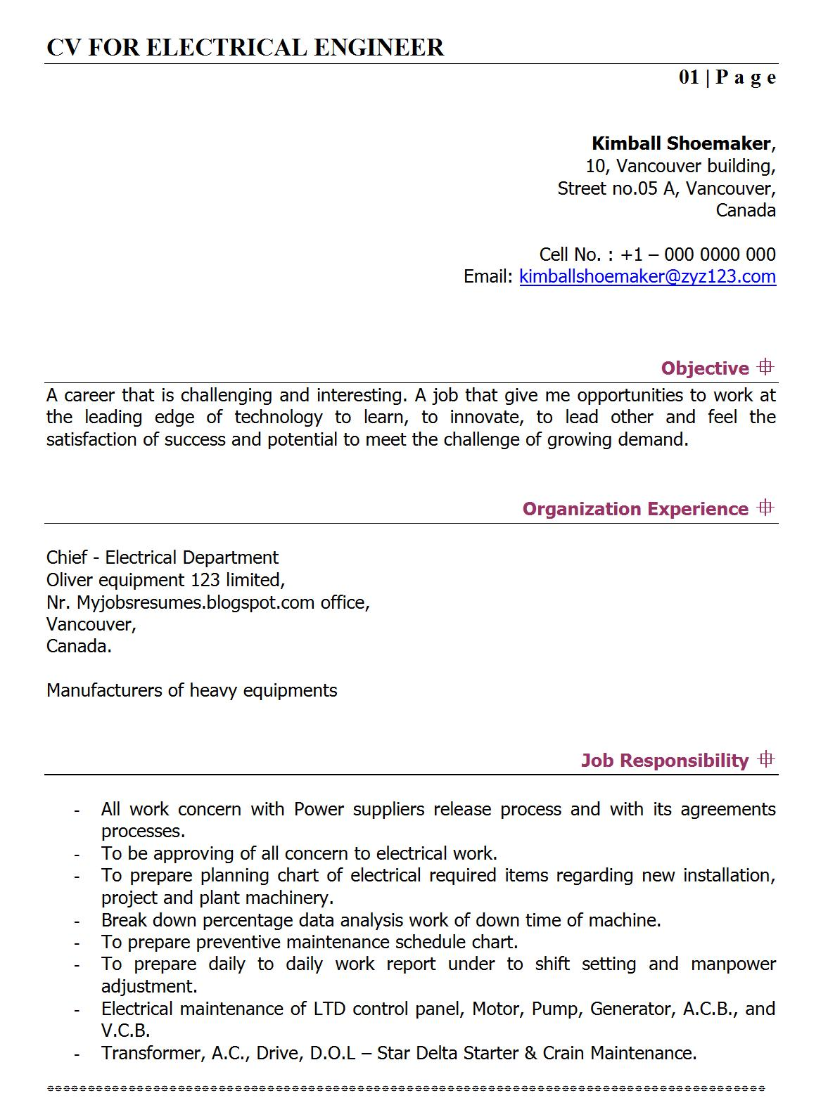 Sample Resume Format For Freshers Software Engineers