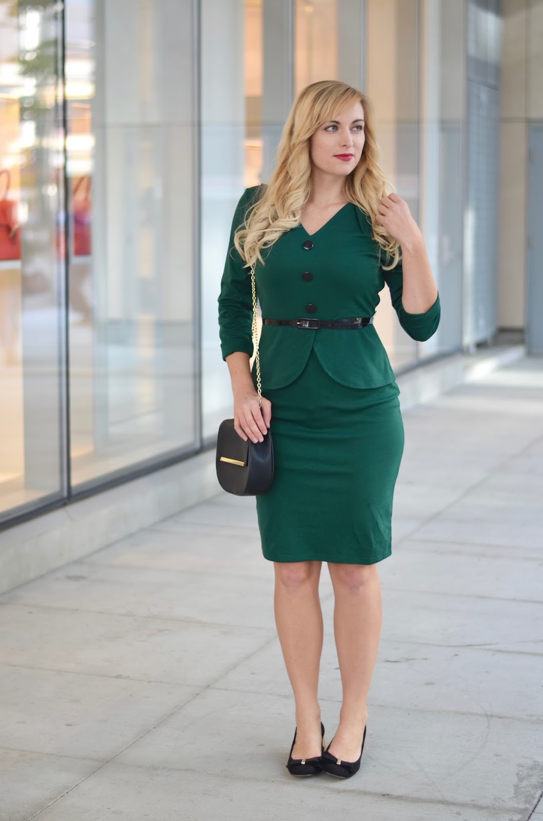 office outfit faux layer dress
