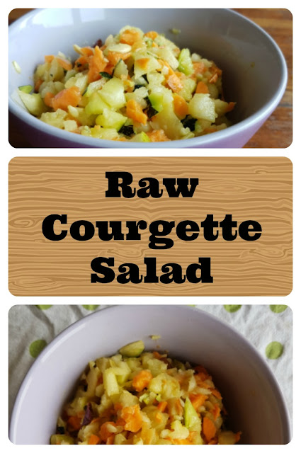 Raw courgette salad - photo collage