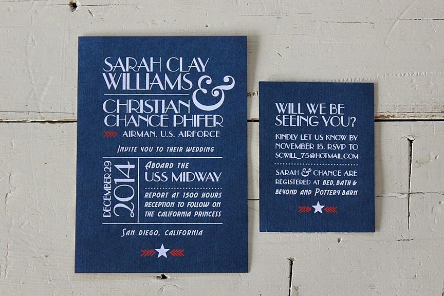 Red White And Blue Wedding Invitations: Bricks & Honey: Red, White & Blue Wedding Invitations