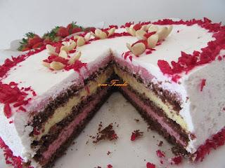 Strawberry and vanilla cream cake