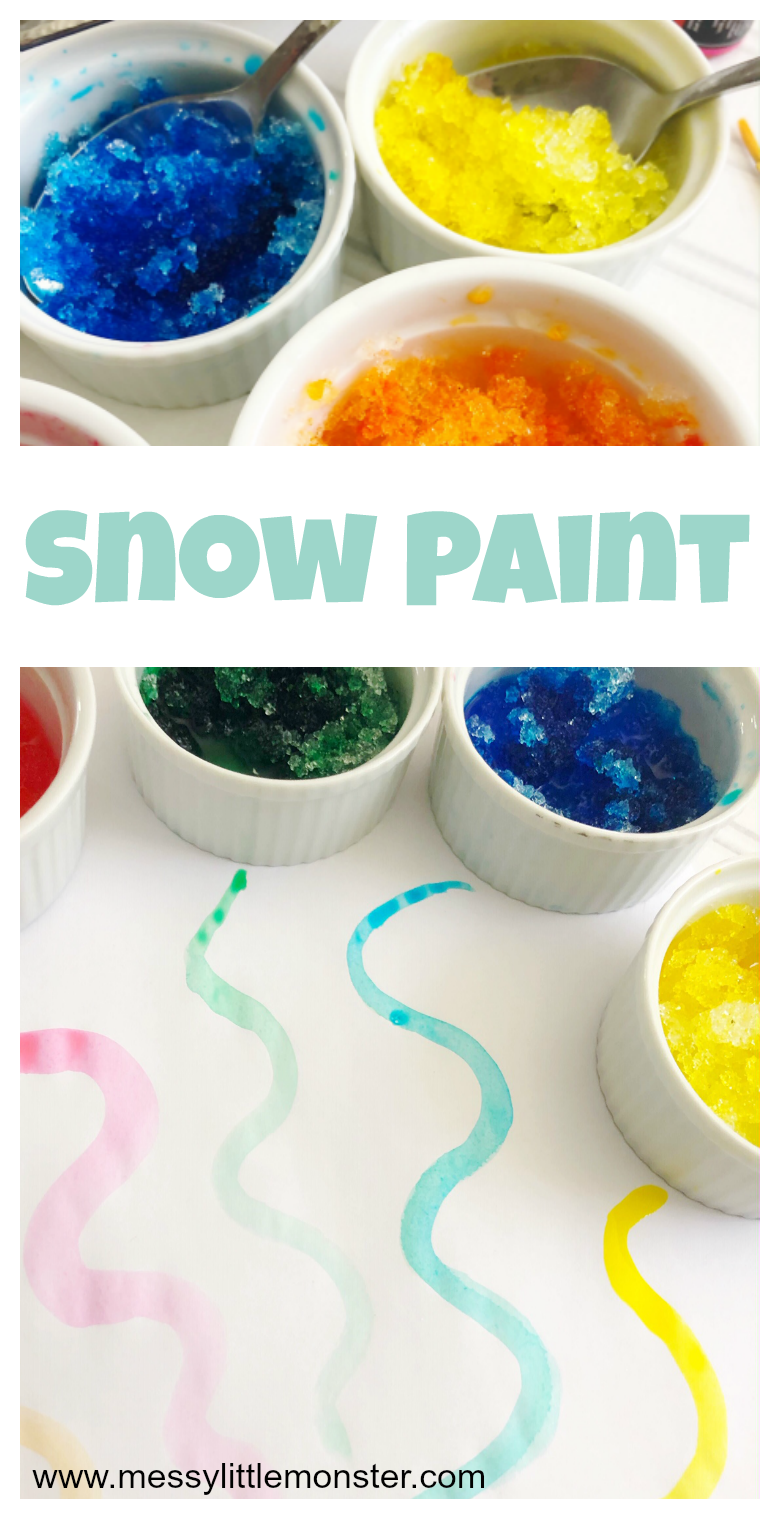Snow painting is such a fun snow activity for kids! See how to make snow paint using our 2 ingredient snow paint recipe!