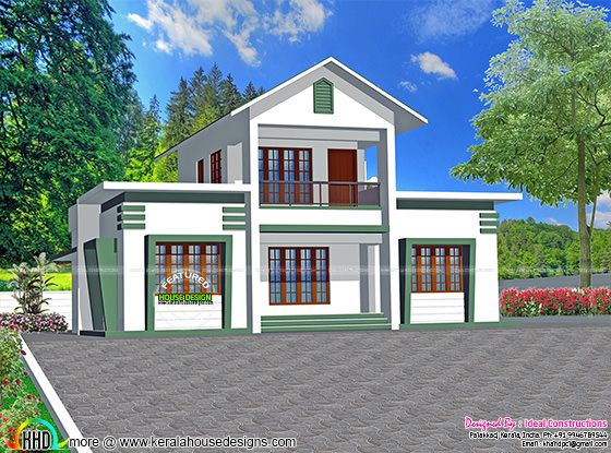 1500 sq-ft 3 bedroom sloping roof home