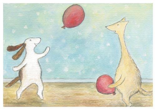 Postcard illustration of Hulmu Hukka and Haukku Spaniel playing with balloons.