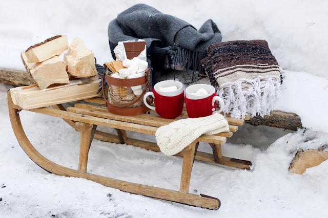 Close up of old sled carrying Smore's and blankets and wood