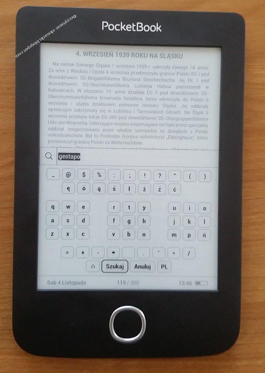 Widok wirtualnej klawiatury w czytniku PocketBook Basic 3