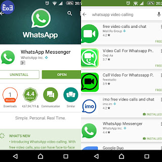 Whatsapp messaging app for video calling