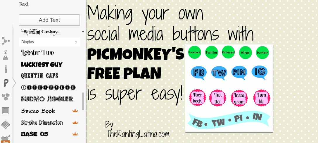 Making Social Media Buttons With PicMonkey's FREE Plan: A TUTORIAL