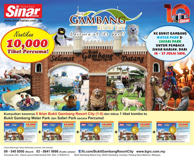 Free Ticket Bukit Gambang Water Park & Safari Park