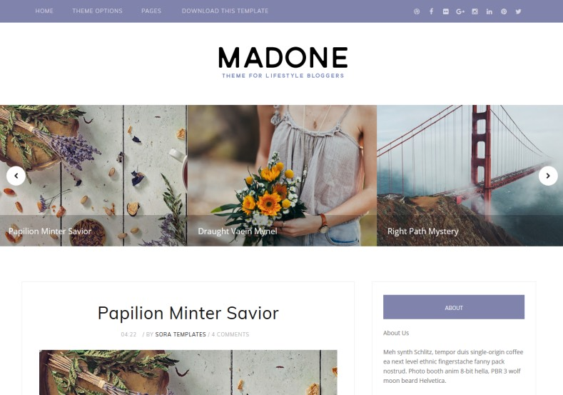 DemonstraçãoTemplate Madone Clean e Responsivo para Blogs 2018