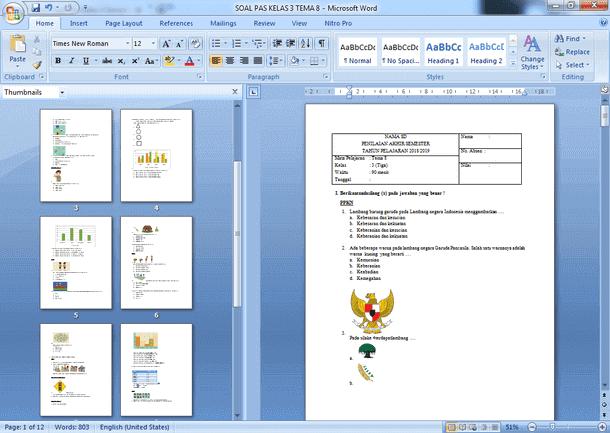 Contoh Soal PAS SD Kelas 3 Semester 2 Kurikulum 2013 Revisi 2018-2019