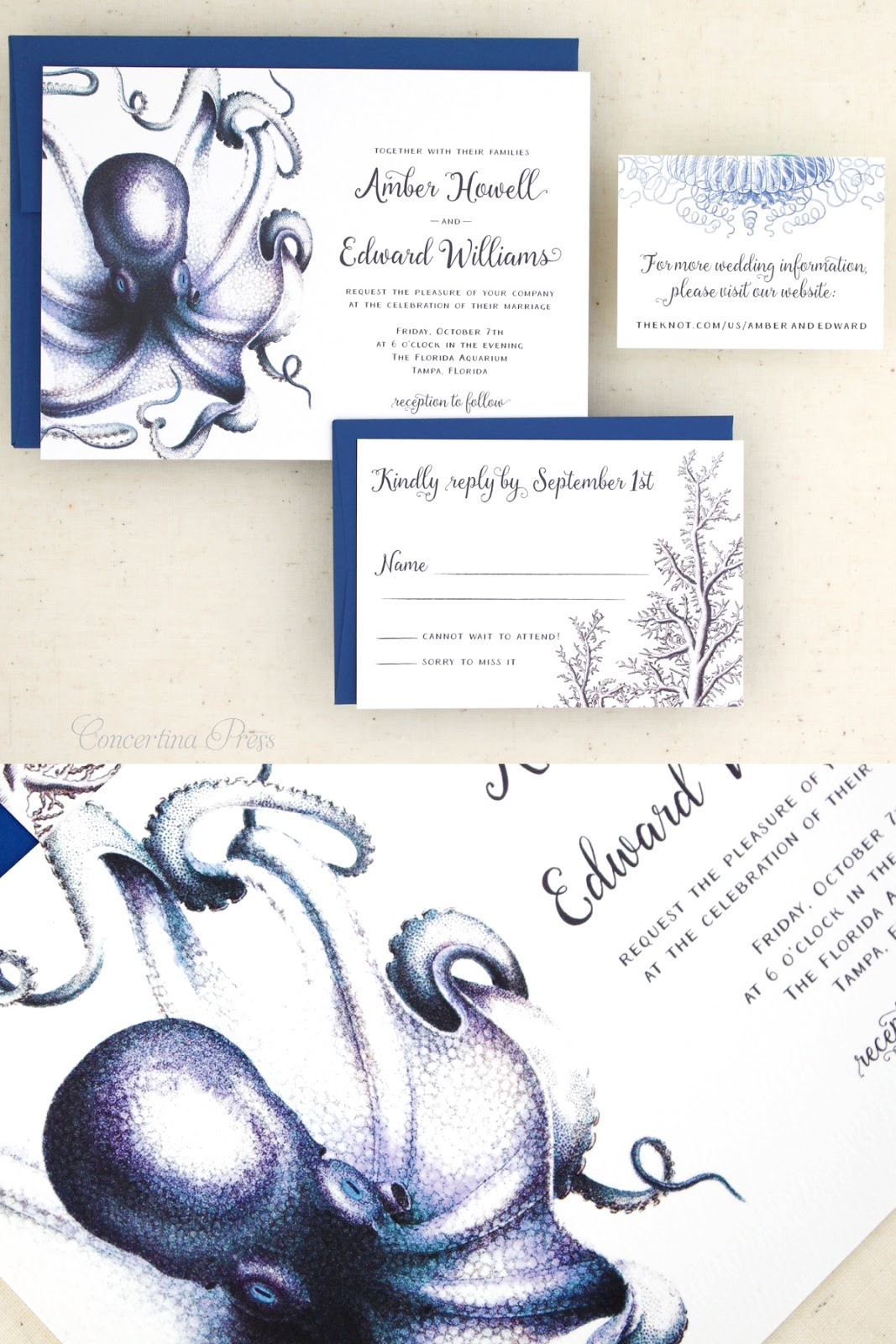 Aquarium Wedding Invitation Set featuring Octopus Coral Seahorses and Fish