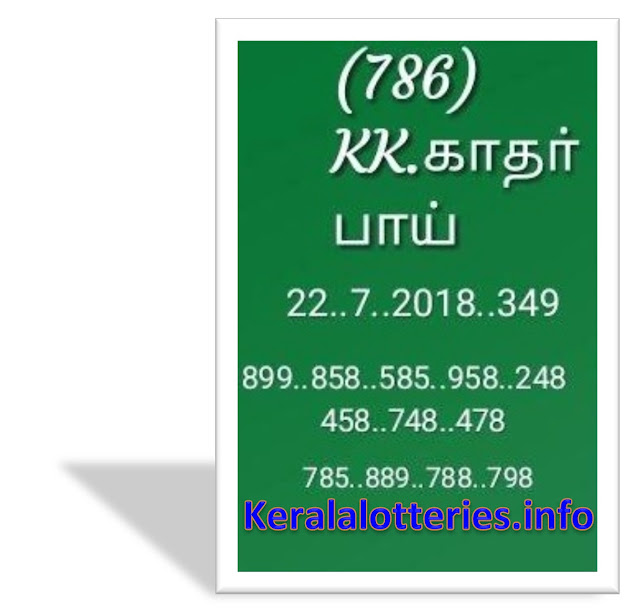 KK Kerala Lottery abc guessing numbers Pournami RN-348 22-07-2018