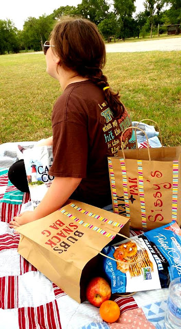 Waiting for summer movies on the lawn with snack bags