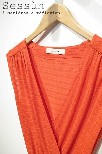 Sessùn robe mandarin rouge Amanza