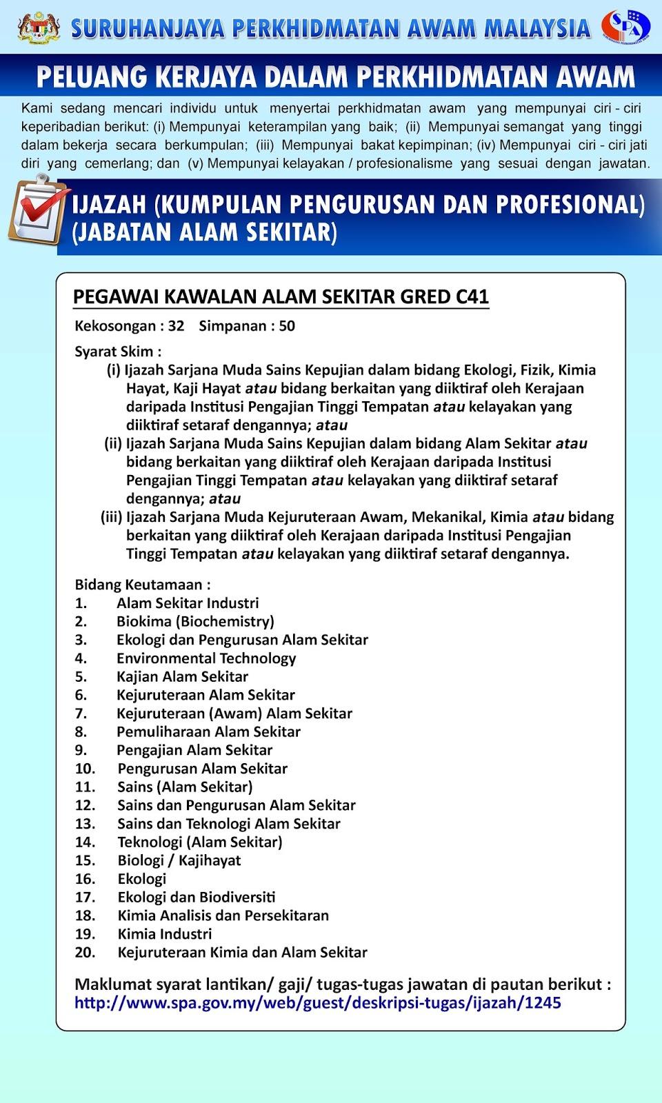 Jawatan Kosong Di Jabatan Alam Sekitar Malaysia 161 Kekosongan Seluruh Malaysia Jobcari Com Jawatan Kosong Terkini