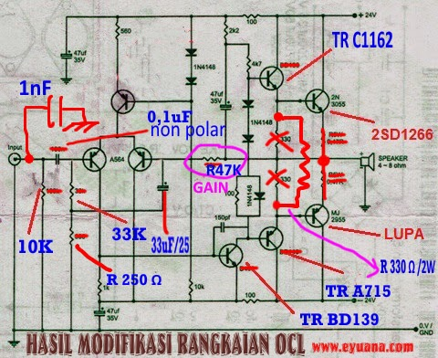 modifikasi amplifier OCL