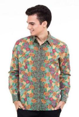 Kemeja pria kombinasi batik muslim modis keren