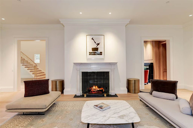 Washington DC luxury mansion Kalorama living room fireplace regency style limestone